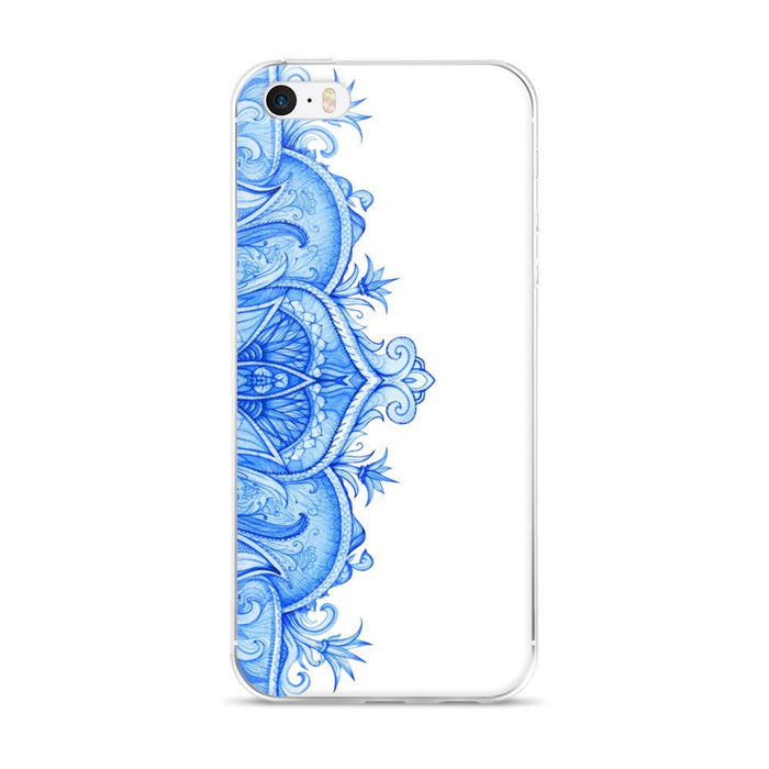 Blue moroccan floral single iPhone case