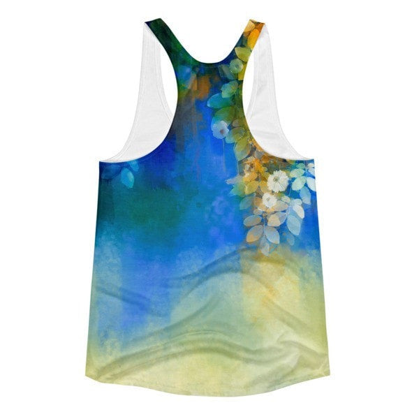 All over print - Blue lush Women's Racerback Tank - Hutsylife - 2