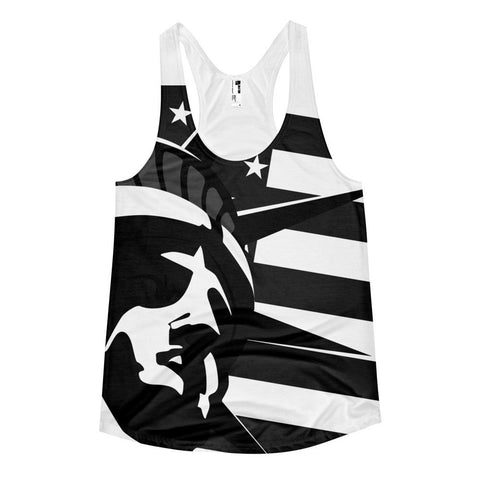 All over print - Black liberty Women's racerback tank
