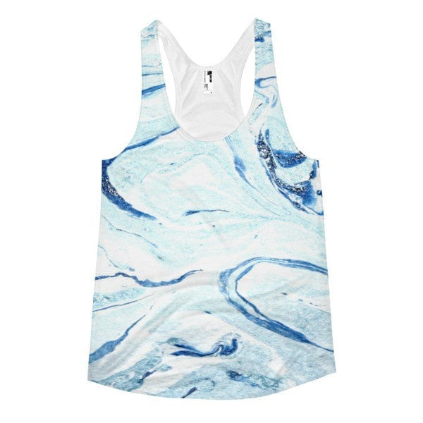 All over print - Aqua marble Women's racerback tank - Hutsylife - 1