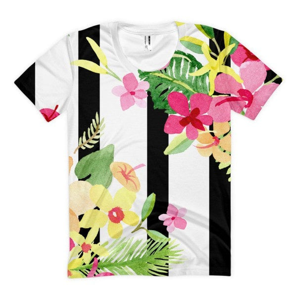 Stripe flower Women's sublimation t-shirt - Hutsylife