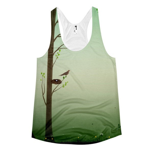 All over print - Spring forest Women's Racerback Tank - Hutsylife - 1