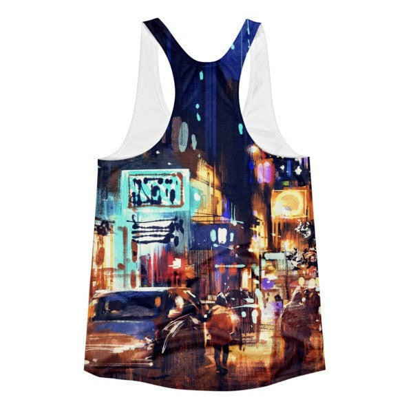All over print- Women Rainy Night Racerback Tank - Hutsylife - 2