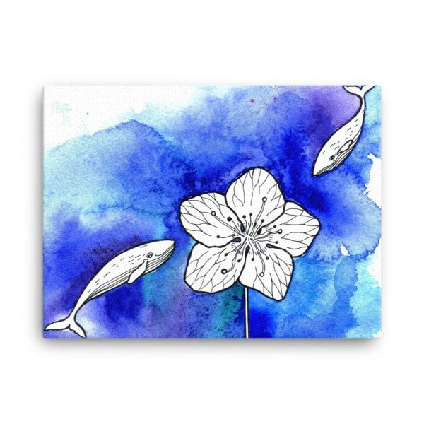 Whale meets flower Canvas - Hutsylife - 3