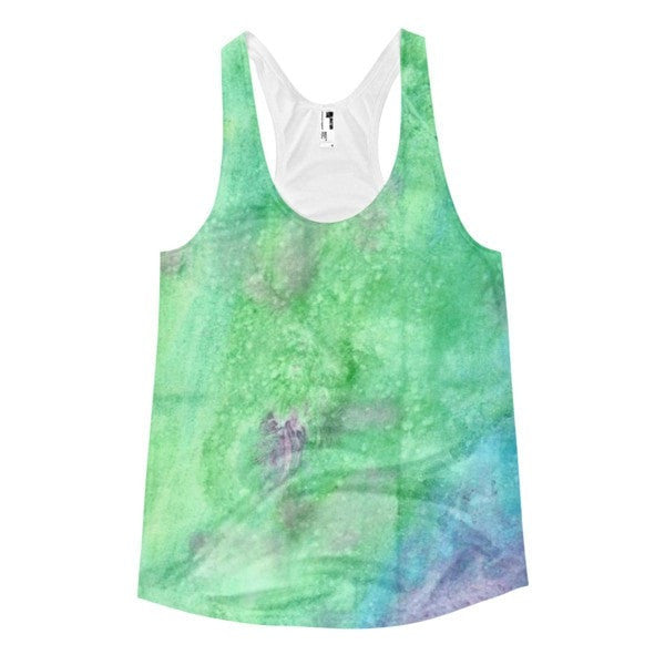 All over print - Women's Racerback Green watercolorTank - Hutsylife - 1