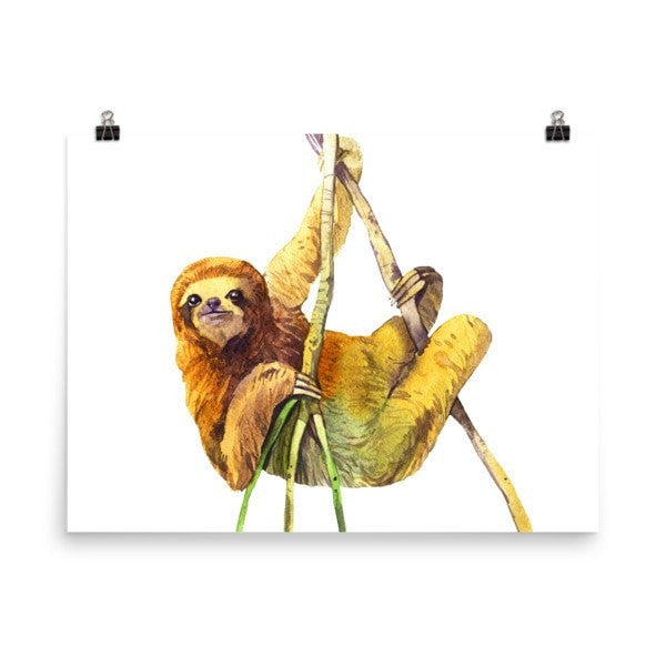 Watercolor Sloth Poster - Hutsylife - 6