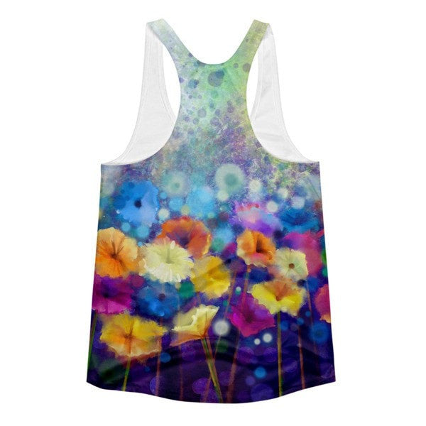 All over print - Floral floor Women's Racerback Tank - Hutsylife - 2