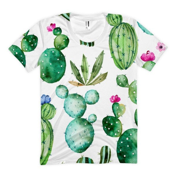 All over print - Thorny cactus Women's Sublimation T-Shirt - Hutsylife - 1