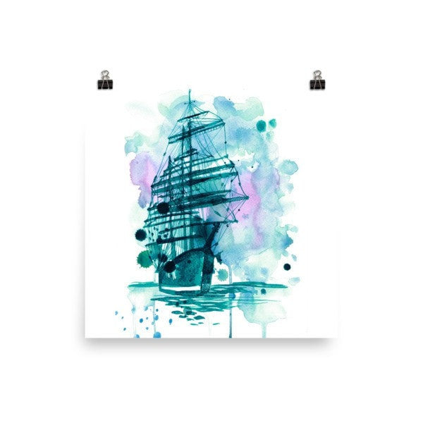 Watercolor ship Poster