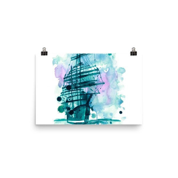 Watercolor ship Poster - Hutsylife - 7