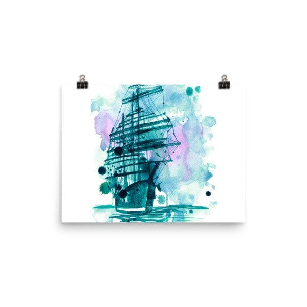 Watercolor ship Poster - Hutsylife - 5