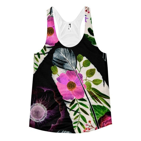 All over print - Black feather Women's racerback tank - Hutsylife - 1