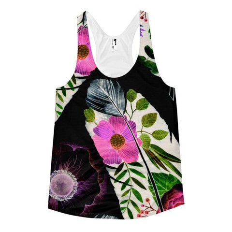 All over print - Black feather Women's racerback tank