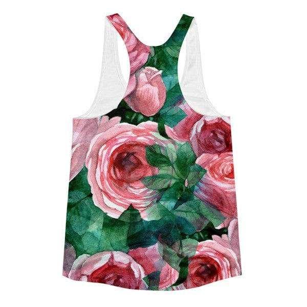 All over print - Pink Rose Women's racerback tank - Hutsylife - 2