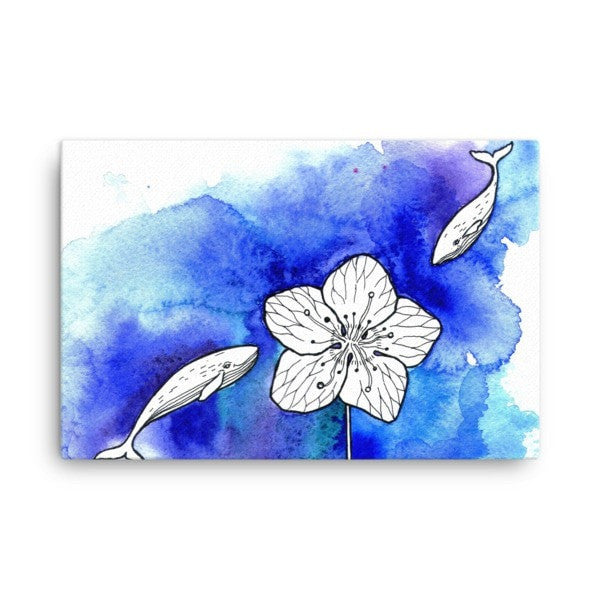 Whale meets flower Canvas - Hutsylife - 4