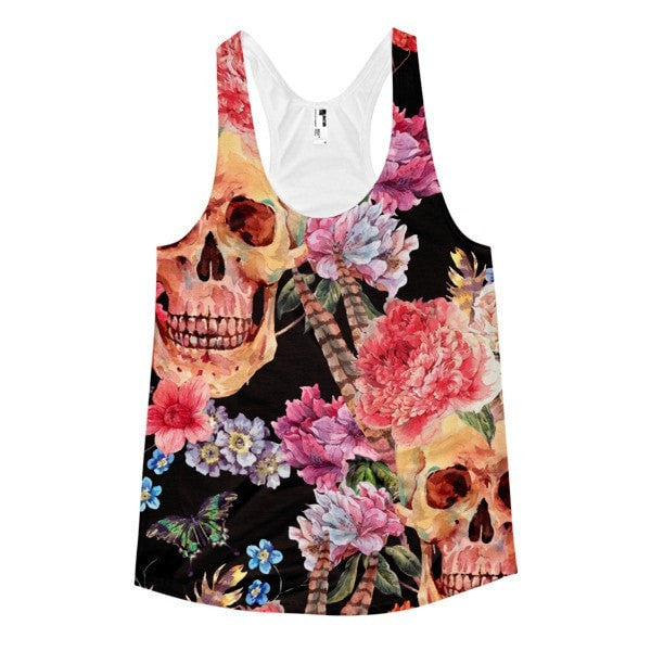 All over print - Women's Skull flower Racerback Tank - Hutsylife - 1