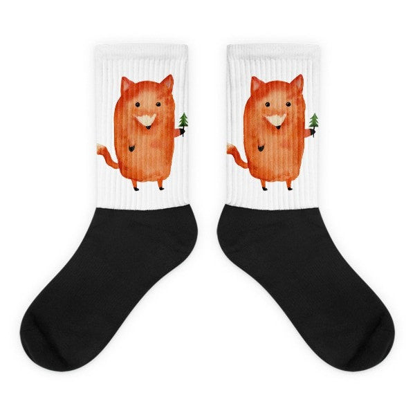 The lonely fox Black foot socks