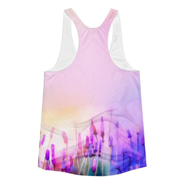 All over print - Violet lavender Women's Racerback Tank - Hutsylife - 2