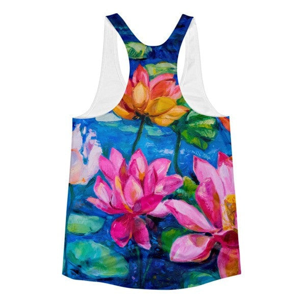 All over print - Lily pad Women's Racerback Tank - Hutsylife - 2