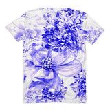 All over print - Indigo floral Women's Sublimation T-Shirt - Hutsylife - 2