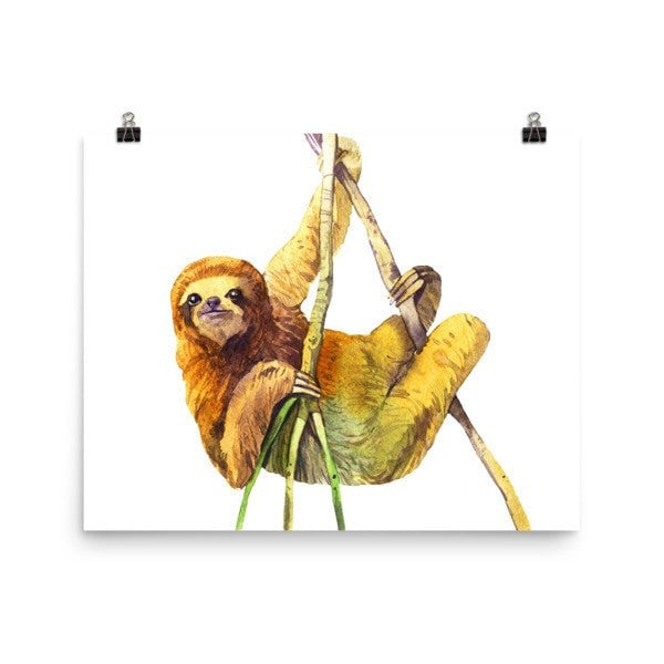 Watercolor Sloth Poster - Hutsylife - 8