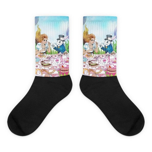 Alice in Wonderland Black foot socks
