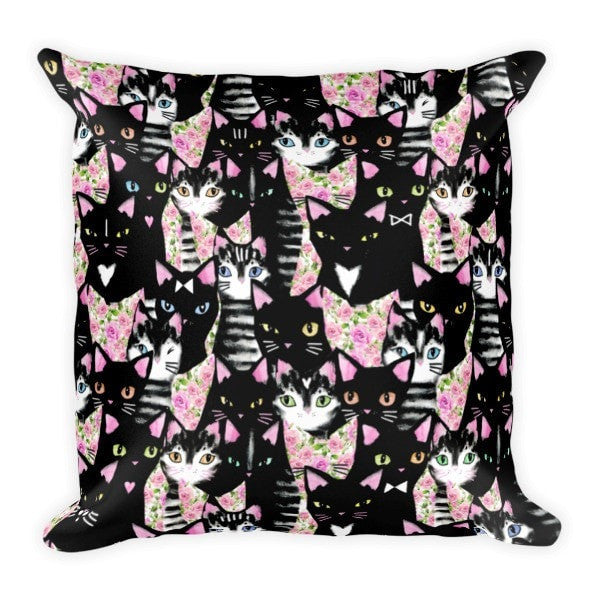 Cat collage Pillow - Hutsylife - 1
