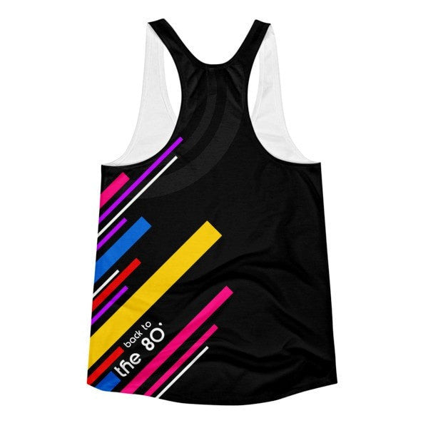 All over print- Back to the 80's Women's racerback tank - Hutsylife - 2