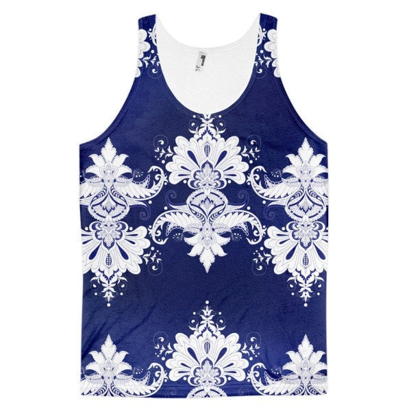 All over print - Blue & white flow Classic fit men's tank top - Hutsylife - 1