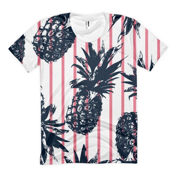 All over print - Pineapple stripes Women's Sublimation T-Shirt - Hutsylife - 1