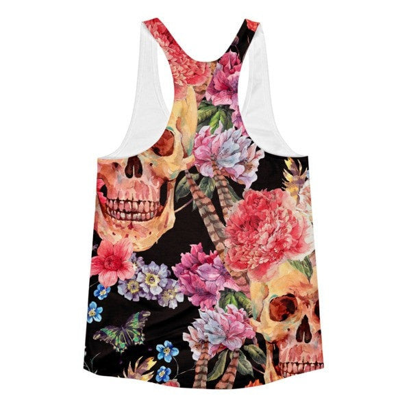 All over print - Women's Skull flower Racerback Tank - Hutsylife - 2