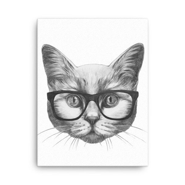 Eyeglass cat Canvas - Hutsylife - 3