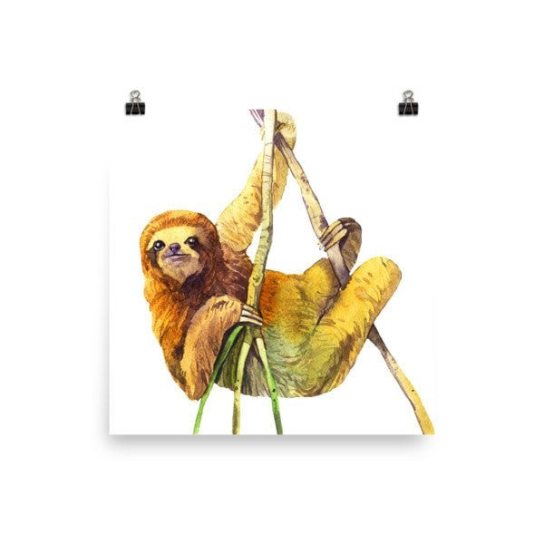 Watercolor Sloth Poster - Hutsylife - 1
