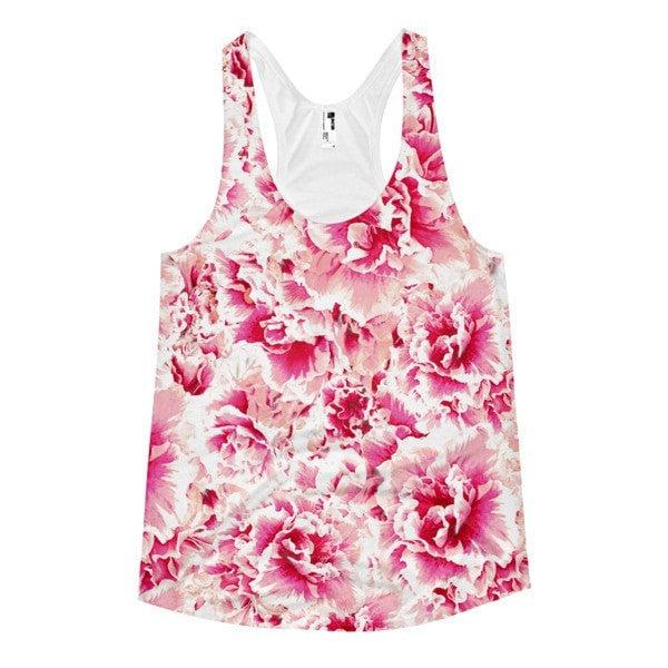 All over print - Pink floral Women's Racerback Tank - Hutsylife - 1