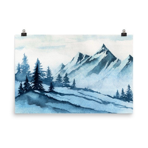 Watercolor mountain Poster - Hutsylife - 9