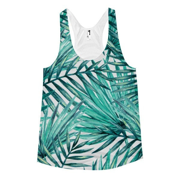All over print - Tropical Hidden leaf Women's Racerback Tank - Hutsylife - 1