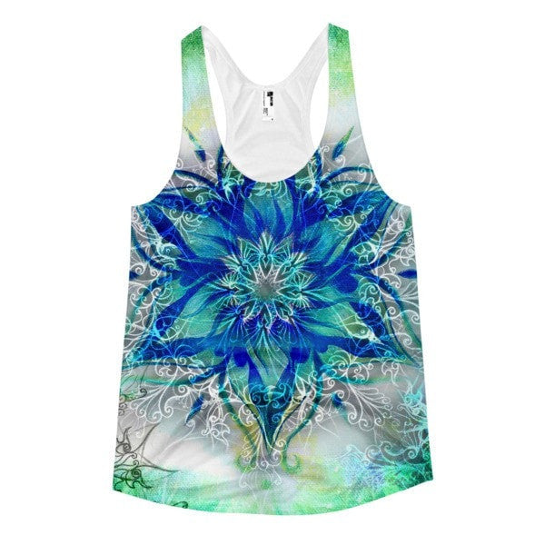All over print - Ornamental blue Women's racerback tank - Hutsylife - 1
