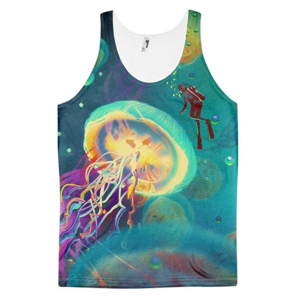Jellyfish encounter Classic fit men's tank top - Hutsylife