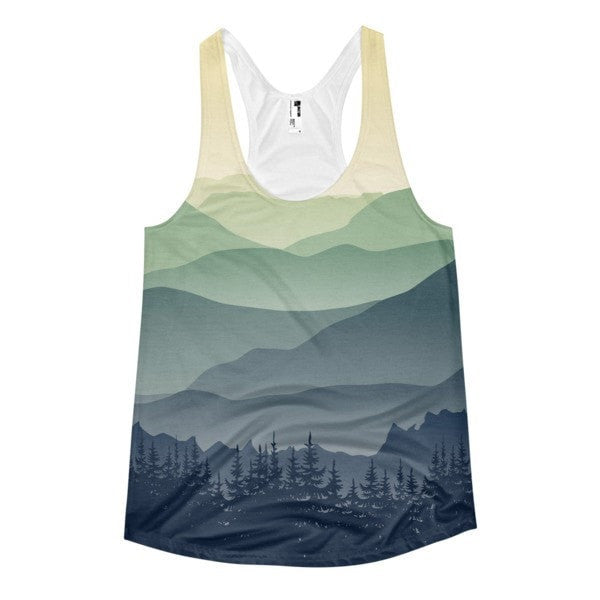 All over print - Mountain fog Women's Racerback Tank - Hutsylife - 1