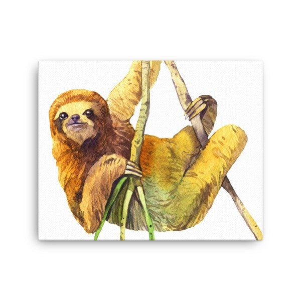 Watercolor Sloth Canvas - Hutsylife - 2