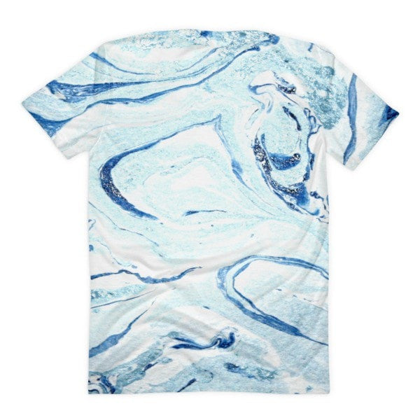 All over print - Aqua marble Women's sublimation t-shirt - Hutsylife - 2