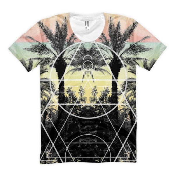 All over print - Palm Reflection Women's Sublimation T-Shirt - Hutsylife - 1