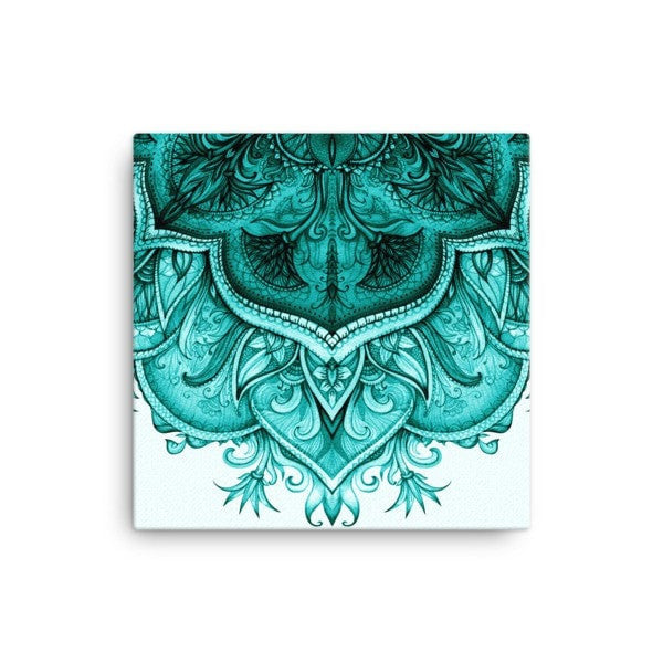 Upside down teal moroccan floral Canvas