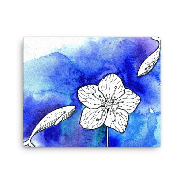 Whale meets flower Canvas - Hutsylife - 2