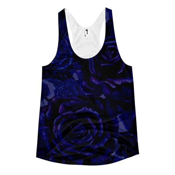 All over print -Dark floral Women's racerback tank - Hutsylife - 1