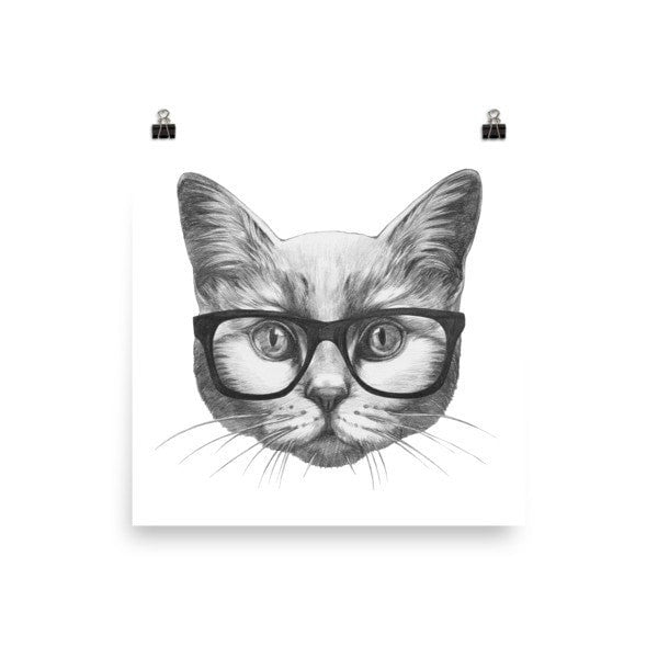 Eyeglass cat Poster - Hutsylife - 1