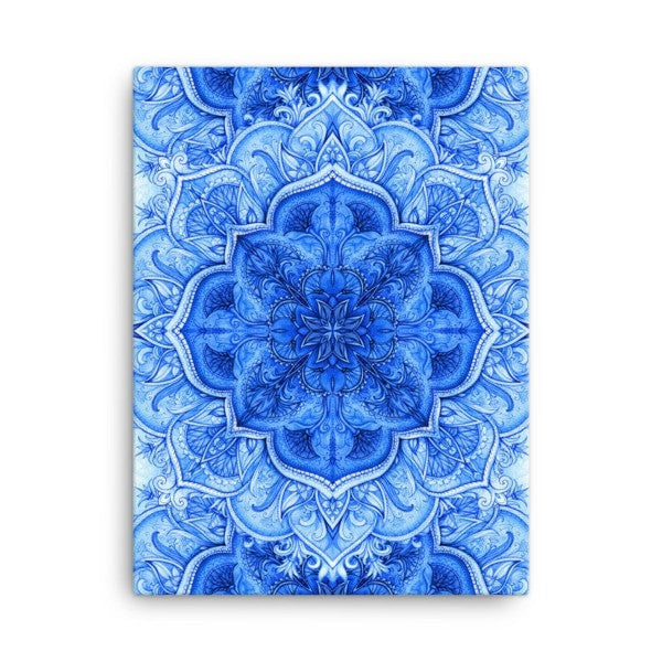 Continous blue moroccan floral Canvas - Hutsylife - 3