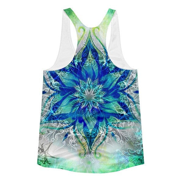 All over print - Ornamental blue Women's racerback tank - Hutsylife - 2