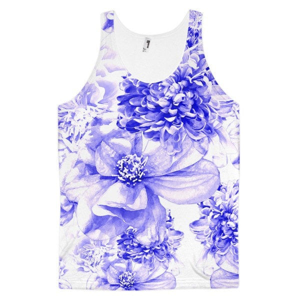 All over print - Indigo floral Classic fit men's tank top - Hutsylife - 1