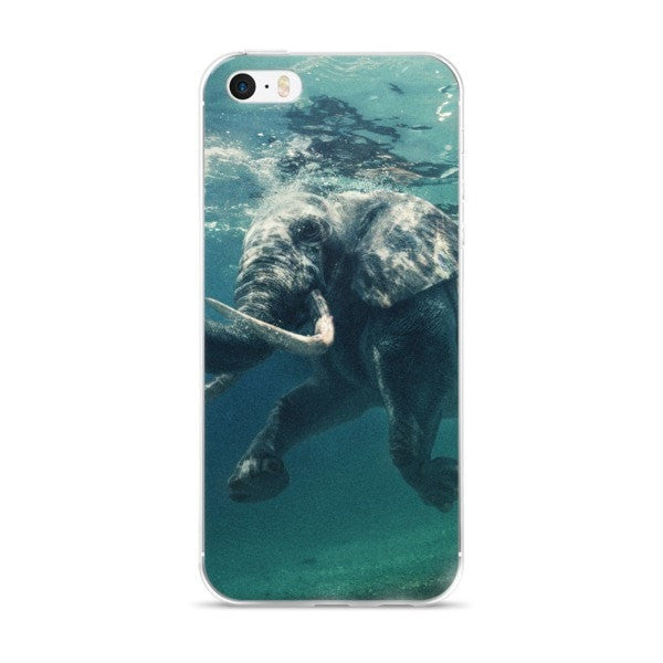 Aqua Swimming elephant iPhone case